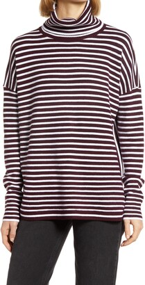French Connection Women's Babysoft Stripe Turtleneck Top