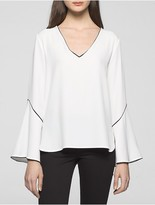 Calvin Klein Bell Sleeve Piped Blouse
