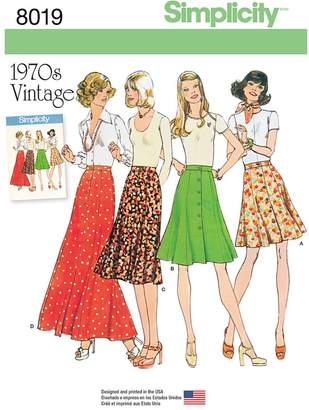 Simplicity Misses' Vintage 1970s Skirts Sewing Pattern, 8019