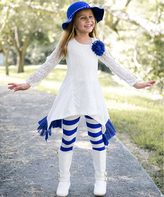 Royal Sidetail Tunic & Stripe Leggings - Girls