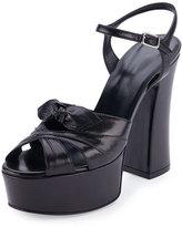 Saint Laurent Candy Leather Platform Sandal, Black (Nero)