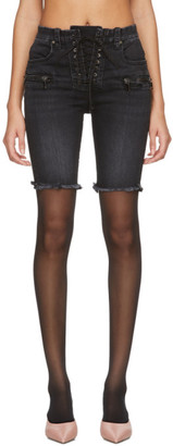 Unravel Black Denim Lace-Up Cyclist Shorts