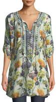 Tolani Cecily Floral-Print Tie-Neck Tunic, Plus Size