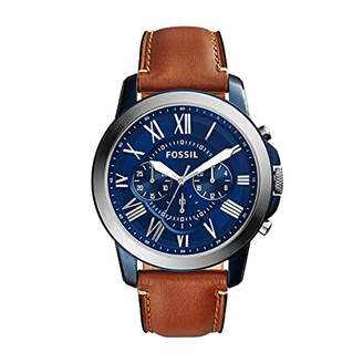 Fossil Men's Grant Stainless Steel Quartz Watch with Leather Calfskin Strap