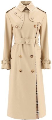 Burberry LONG OVERSIZED TRENCH COAT WITH TARTAN PANELS 4 Beige, Brown Cotton