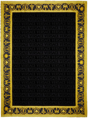 Versace Black Barocco Beach Towel
