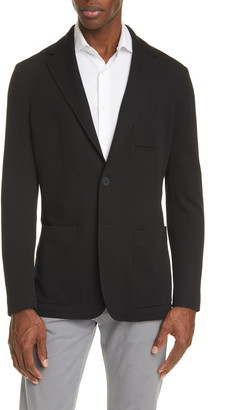 Canali Black Edition Classic Fit Knit Wool Blend Blazer