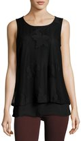 Bobeau Lace-Overlay Knit Tank, Black