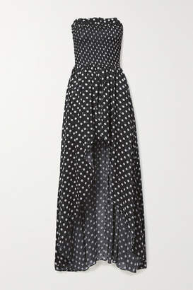 Caroline Constas Ismay Asymmetric Shirred Polka-dot Chiffon Maxi Dress - Black