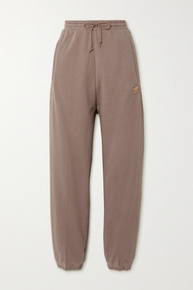 adidas Metallic-striped French Cotton-terry Track Pants - Brown