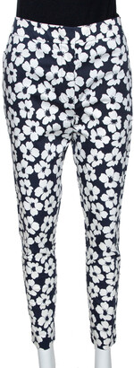 Carolina Herrera Navy Blue Floral Print Stretch Cotton Pants M