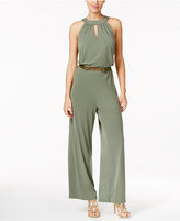 Thalia Sodi Belted Wide-Leg Jumpsuit, Created for Macy's