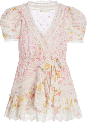 LoveShackFancy Belen Patchwork Floral Cotton Wrap Mini Dress
