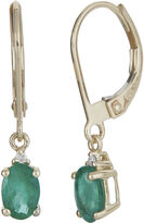 FINE JEWELRY LIMITED QUANTITIES Genuine Emerald and Diamond-Accent 10K Yellow Gold Drop Earrings