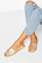 boohoo Metallic Leather Woven Ballets