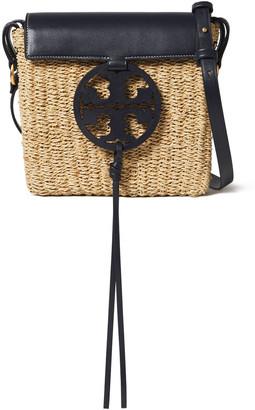 Tory Burch Leather-trimmed Logo-embellished Straw Shoulder Bag