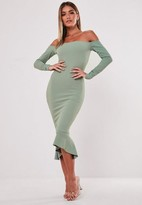 Missguided Green Bardot Fishtail Bodycon Dress