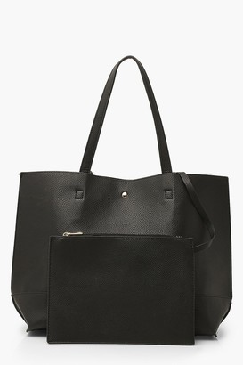 boohoo Textured PU Tote & Tablet Bag