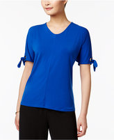 Kasper Split-Sleeve Tie-Cuff Top