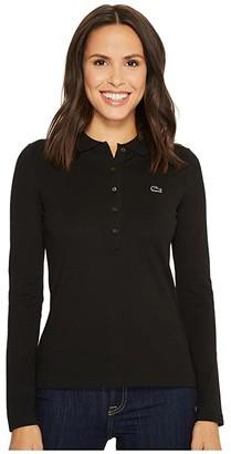 Lacoste Long Sleeve Pique Polo (Black) Women's Clothing