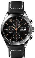 Raidillon Timeless Men's Automatic Watch with Black Dial Chronograph Display and Black Leather Strap 38-CAT-048