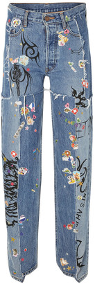 Vetements Distressed Embellished Mid-rise Straight-leg Jeans