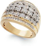 Macy's Diamond Multi-Row Bubble Ring in 10k Gold (1 ct. t.w.)