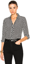 Saint Laurent Polka Dot Crepe de Chine Blouse