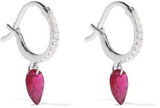 Raphaele Canot 18kt white gold Set Free ruby and diamond mini hoops