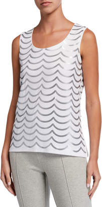 Joan Vass Sequin Wave Cotton Shell