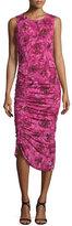 Fuzzi Sleeveless Ruched Rose-Print Dress