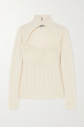 Ganni Cutout Cable-knit Alpaca-blend Sweater - Ivory