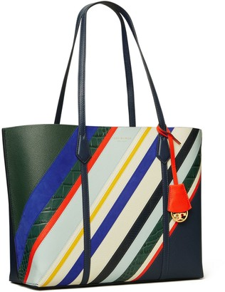 Tory Burch PERRY BALLOON STRIPE TRIPLE-COMPARTMENT TOTE