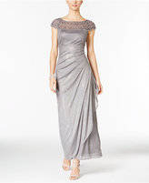 MSK Embellished Ruched Cascade Gown