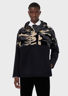 Emporio Armani Blouson With Hood And Camouflage Velvet Insert