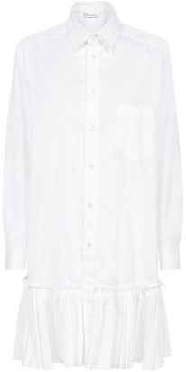 RED Valentino Pleated Flounce Detail Shirt Dress