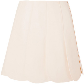 Valentino Scalloped Wool And Silk-blend Grain De Poudre Mini Skirt