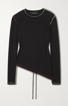 ANDERSSON BELL Asymmetric Cutout Jersey Top - Black