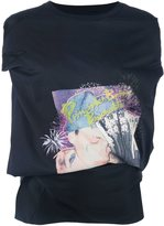 Maison Margiela printed cut out detail top - women - Silk/Cotton/Polyamide/Viscose - 40