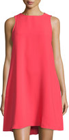 Neiman Marcus Sleeveless Crepe Trapeze Dress, Red