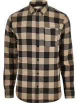 River Island MensBrown check flannel shirt