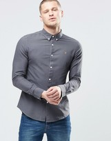 Farah Oxford Shirt In Slim Fit Grey
