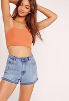 Missguided Ribbed Cami Crop Top Orange