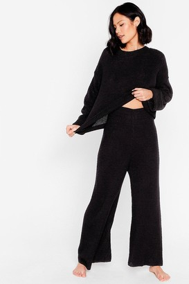 Nasty Gal Womens Love You Culotte Knit Jumper and Trousers Lounge Set - Black - S