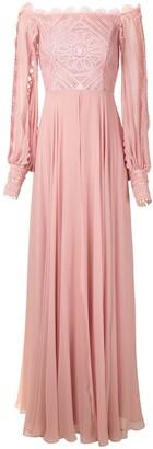Martha Medeiros Marilia lace panelled gown