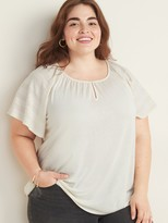 Old Navy Pointelle-Sleeve Jersey-Knit Plus-Size Top