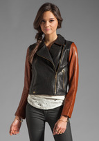 Jackson Washed Italian Lamb Skin Leather Jacket in Black/ Brown Sleeve