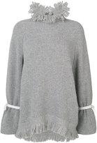 Sacai frayed collar sweater - women - Cupro/Wool - 2