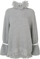 Sacai frayed collar sweater