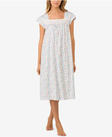 Eileen West Eyelet-Trimmed Printed Cotton Knit Nightgown